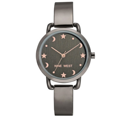 Nine West Women's Gunmetal Star & Moon Bangle Watch