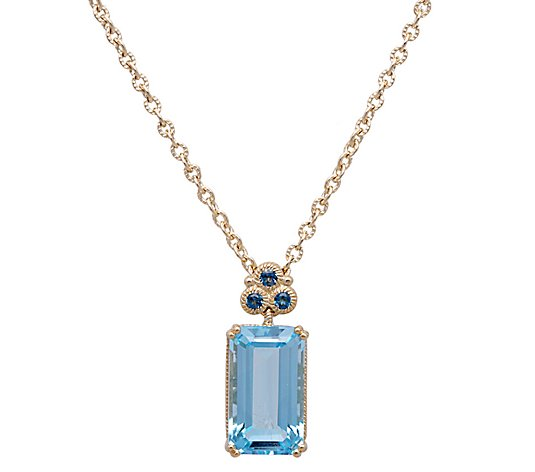 Judith Ripka 14K Gold London Blue Topaz Necklace