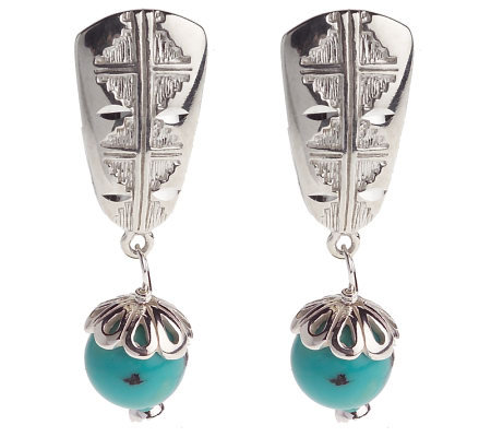 Sincerely Southwest Sterling Turquoise Drop Clip Earrings