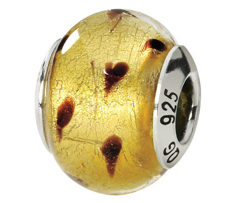 Prerogatives Sterling Gold/Brown Italian MuranoGlass Bead