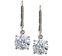 Diamonique 100-Facet Round Lever Back Earrings, Platinum Clad - J112334