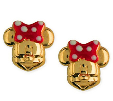 disney 14k yellow gold minnie disney choice of mickey or minnie mouse stud earrings 14k