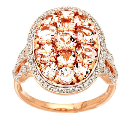 2.00 ct tw Morganite & 1/5cttw Diamond Bold Cluster Ring, 14K Gold