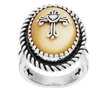 American West Golden Mother-of-Pearl Sterling Silver Cross Ring