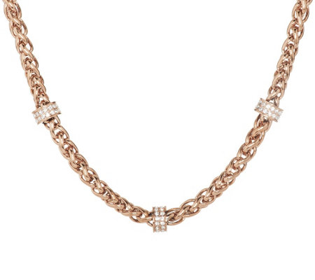 "Stainless Steel 18"" Wheat Chain Necklace with Crystal Stations"