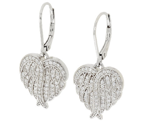 Diamonique Angel Wing Lever Back Earrings Sterling