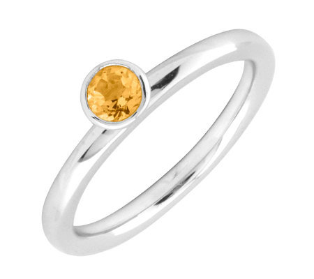 Simply Stacks Sterling 4mm Round Citrine Sol. Stackable Ring