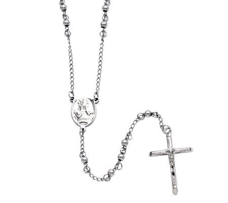 "Stainless Steel 26"" Polished Rosary"