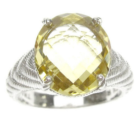 Judith Ripka Sterling Oval Gemstone Textured Ring