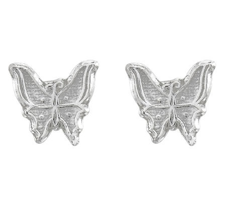 Sterling Polished Textured Butterfly Stud Earrings