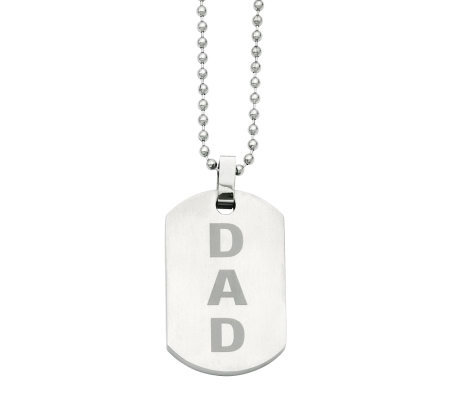 "Forza Men's Stainless Steel 24"" ""DAD"" Brushed Dog Tag Necklac"