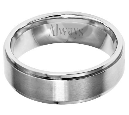 Stainless Steel 7mm Ridged Edge Brushed & Polished Ring