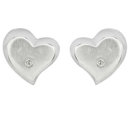Sterling Satin Heart Diamond Accent Stud Earrings