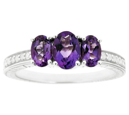Sterling Three-Stone Gemstone & 1/10 cttw Diamond Ring