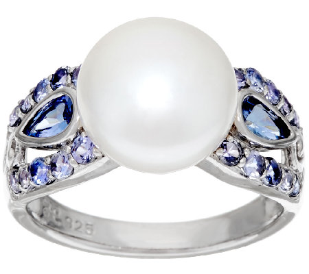 Honora Cultured Pearl 10.0mm & 0.65 cttw Tanzanite Sterling Ring