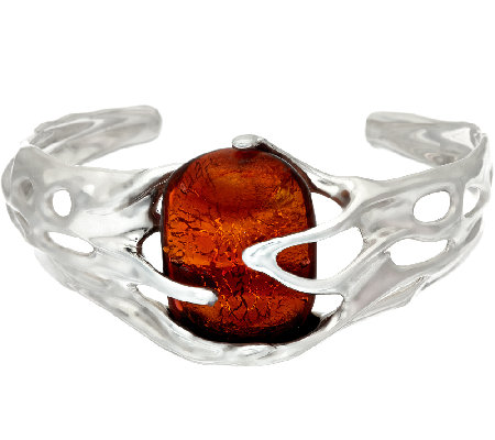 Kalos by Hagit Sterling Silver and Glass Sedona Cuff
