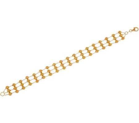 "Italian Gold 6-3/4"" Triple Row Diamond Cut Bead Bracelet 14K Gold, 8.0g"