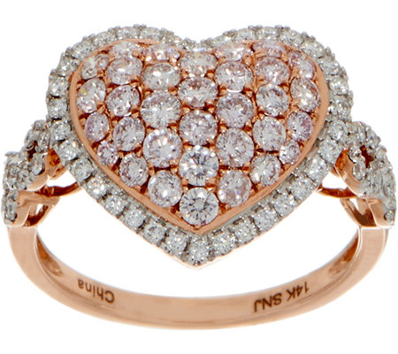 Natural Pink & White Diamond Heart Ring, 14K 1-1/4 cttw, by Affinity