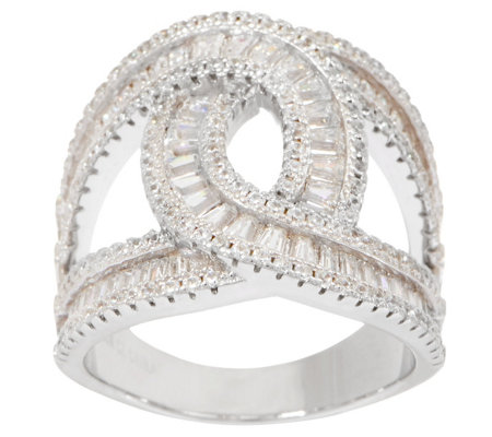 Diamonique Baguette Loop Ring, Sterling