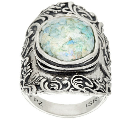 """As Is"" Or Paz Sterling Silver Gemstone or Roman Glass Lace Ring"