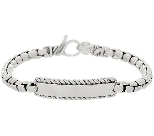 JAI Sterling Silver 5.3mm Box Chain ID Bracelet, 21.8g