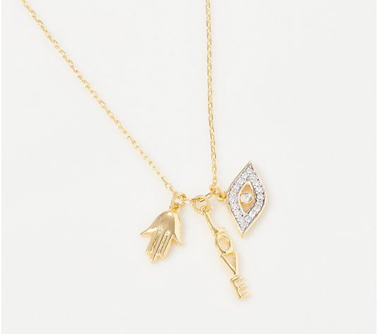 Affinity 14K Gold Plated Diamond Charm Necklace, 1/10 cttw