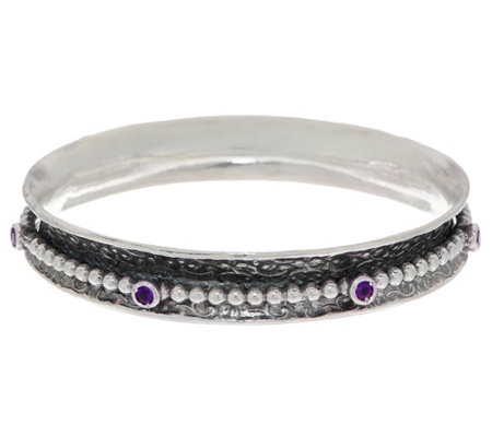 """As Is"" Or Paz Sterling Silver 36.0g Beaded Gemstone Spinner Bangle"
