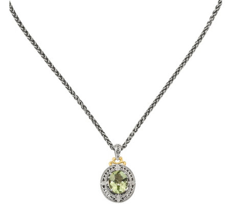 "Sterling & 14K Gold Diamond & Green Quartz Pendant, 18"" Chain"