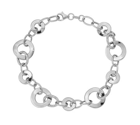 14K White Gold Curb & Disc Link Bracelet, 4.5g