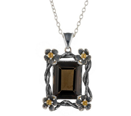 Or Paz Sterling 12.10 cttw Smoky Quartz Pendant w/ Chain