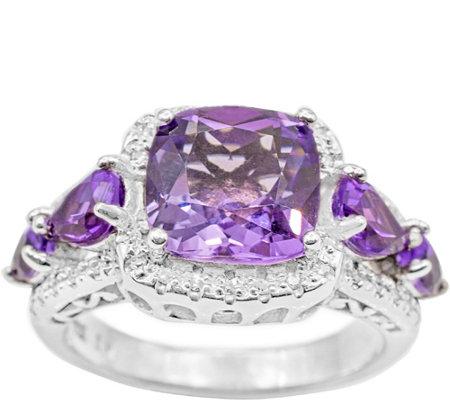 Sterling 3 50 Cttw Amethyst Diamond Ring