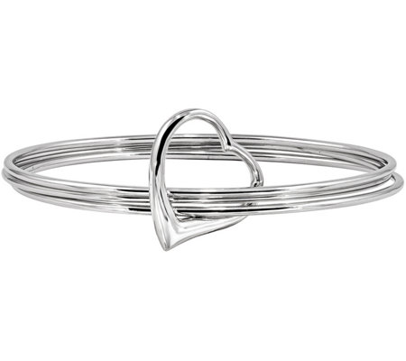 Sterling 3 Bangles With Heart Bangle 18 9g