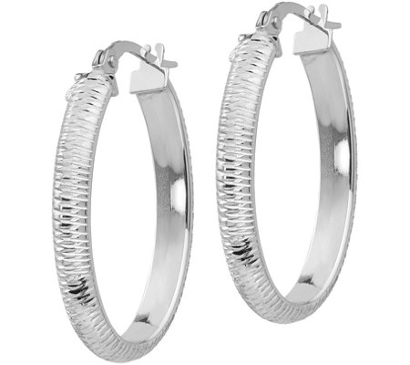 "Italian Gold 1"" Diamond Cut Oval Hoop Earrings,14K"
