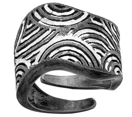 Italian Silver Ruthenium-plated Diamond-cut Adjustable Ring