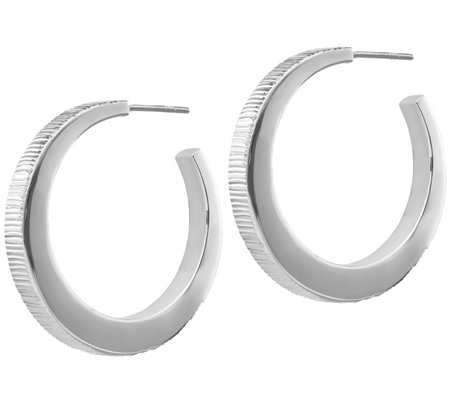 "Italian Silver 1-3/8"" Ribbed Hoop Earrings"