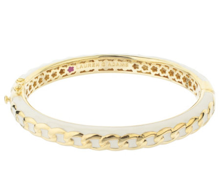 Lauren G Adams Goldtone Colored Enamel Chain Link Bangle