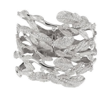 Luxe Rachel Zoe Crystal Accent Wrapped Leaves Hinged Bracelet