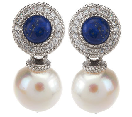 Judith Ripka Sterling Lapis And Baroque Cultured Pearl Drop Earrings