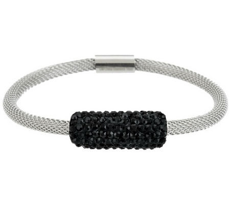 Stainless Steel Mesh Bracelet with Crystal Accent