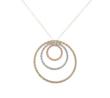 Diamond fascination tri color triple circle pendant 14k gold qvc diamond fascination tri color triple circle pendant 14k gold aloadofball Images