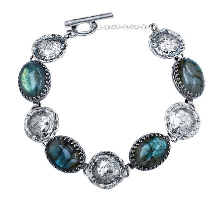 Or Paz Sterling Oval Labradorite Station Bracel et