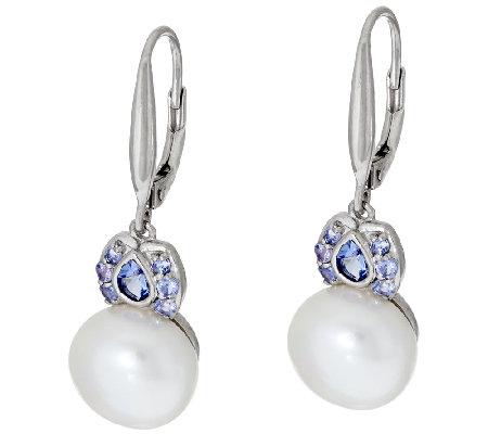 Honora Cultured Pearl 10 0mm Tanzanite Sterling Earrings