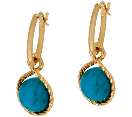Vicenza Gold Polished Turquoise Charm Hoop Earrings 14k