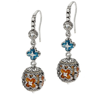 Barbara Bixby Sterling & 18K London Blue Topaz & Citrine Dangle Earrings