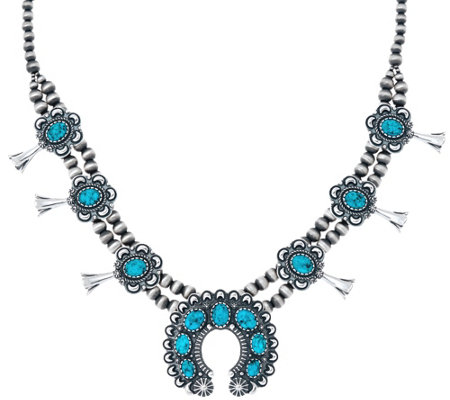 American West Spiderweb Turquoise Squash Blossom Necklace