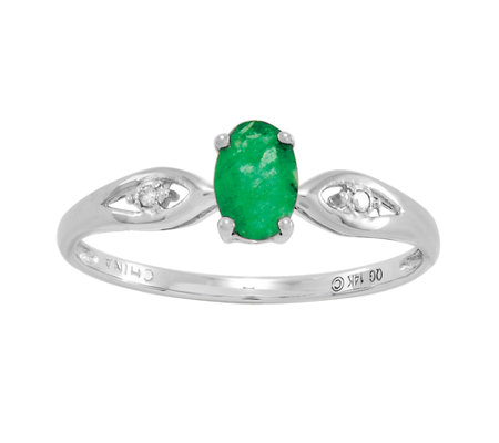 0.45 ct tw Oval Emerald Ring, 14K