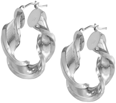 Arte D Oro 1 1 4 Satin Polished Twist Hoop Earrings 18k