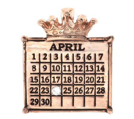 Personalized Rosetone Calendar Crown Charm