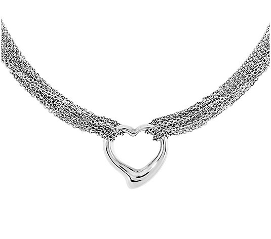 Stainless Steel Multi-Strand Polished Heart Toggle Necklace