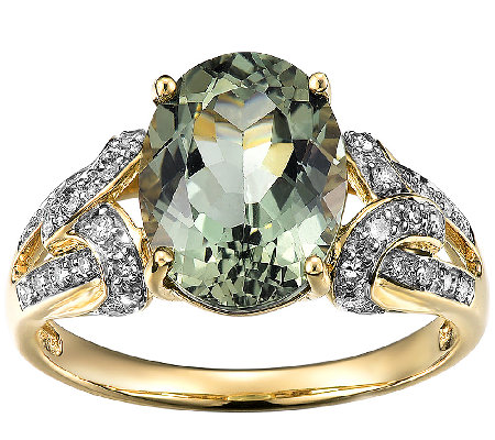 3 00cttw Green Apatite Diamond Accent Ring 14k Gold